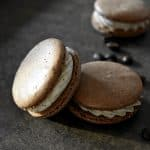 Chocolate Espresso Macarons with coffee beans