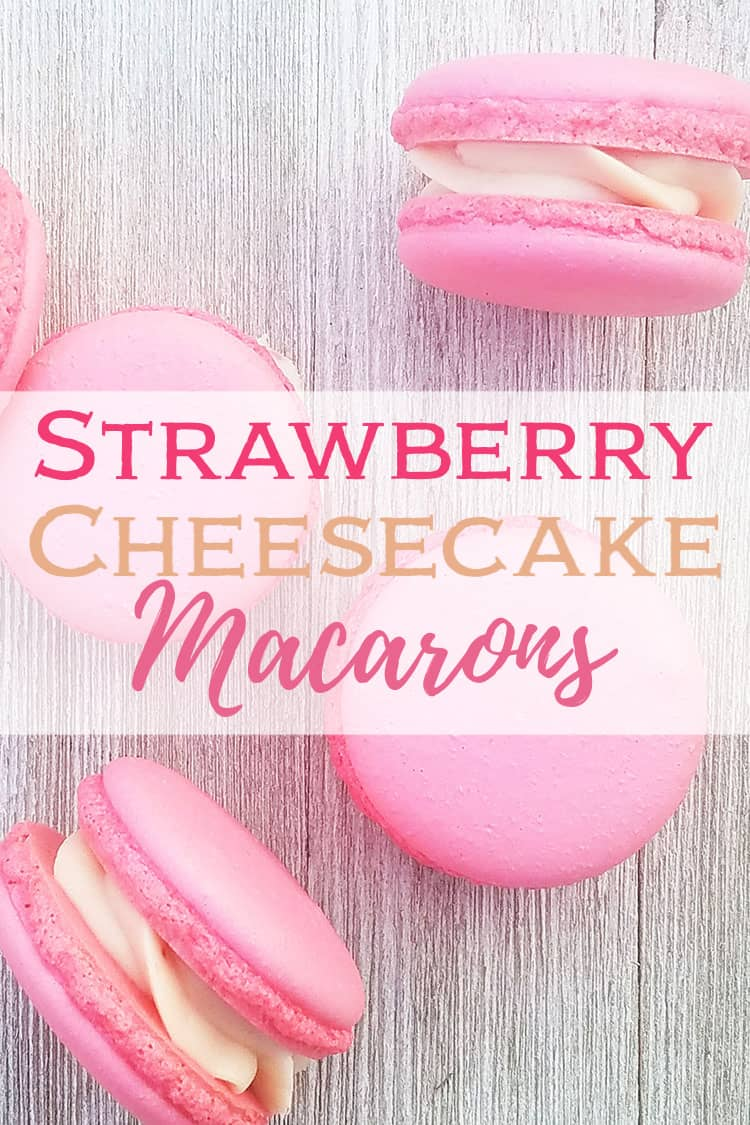 Strawberry Cheesecake Macarons recipe on gray background