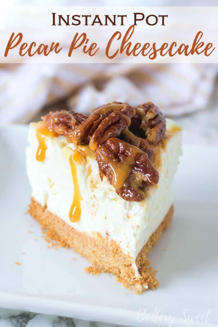 Slice of Instant Pot Pecan Pie Cheesecake on a white plate