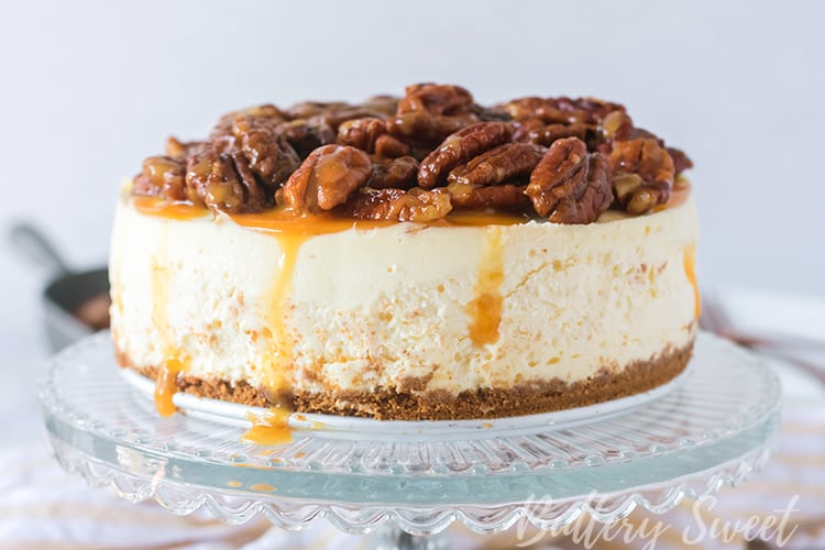 Instant Pot Pecan Pie Cheesecake on a cake plate