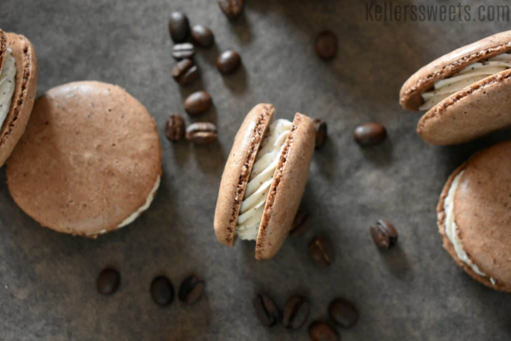 easy chocolate espresso macaron | This easy chocolate espresso macaron recipe is so delicious and unique. The rich flavors of chocolate with the mix of espresso just melts in your mouth. This is by far my favorite macaron flavor (so far). | https://butterysweet.com/blog/easy-chocolate-espresso-macarons
