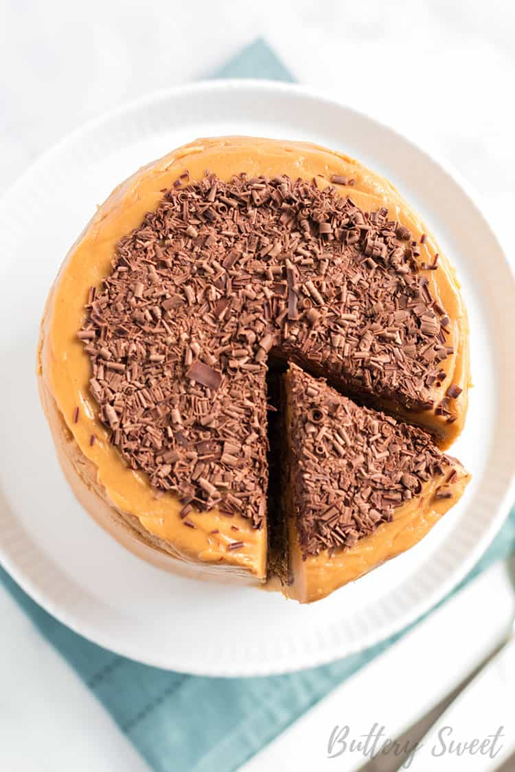 old fashioned peanut butter cake from above with chocolate shavings