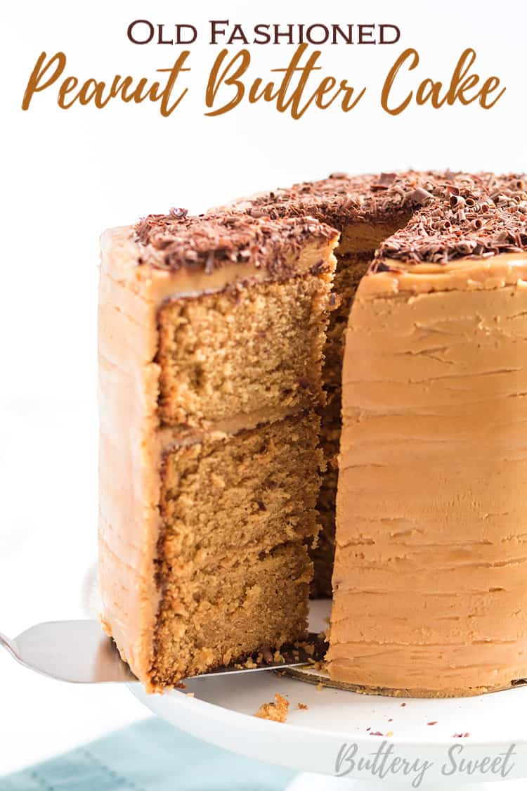 Old Fashioned Peanut Butter Cake with a slice being removed