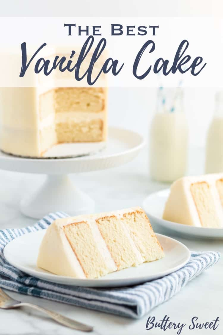 The Best Vanilla Cake Recipe slices on white plates