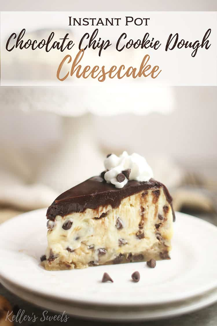 Instant Pot Chocolate Chip Cookie Dough Cheesecake slice on a white plate