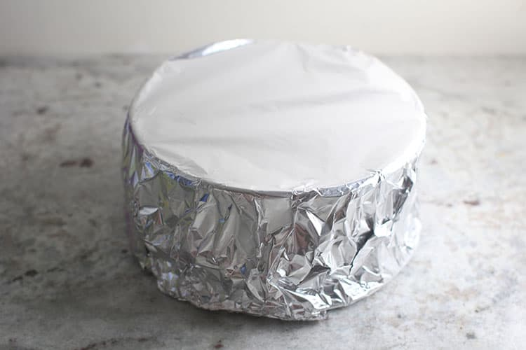 Instant Pot Nutter Butter Cheesecake wrapped in foil before baking in Instant Pot