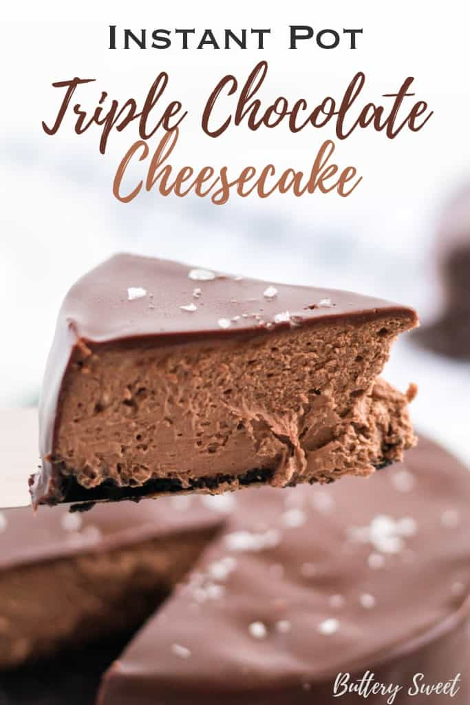 instant pot triple chocolate cheesecake slice