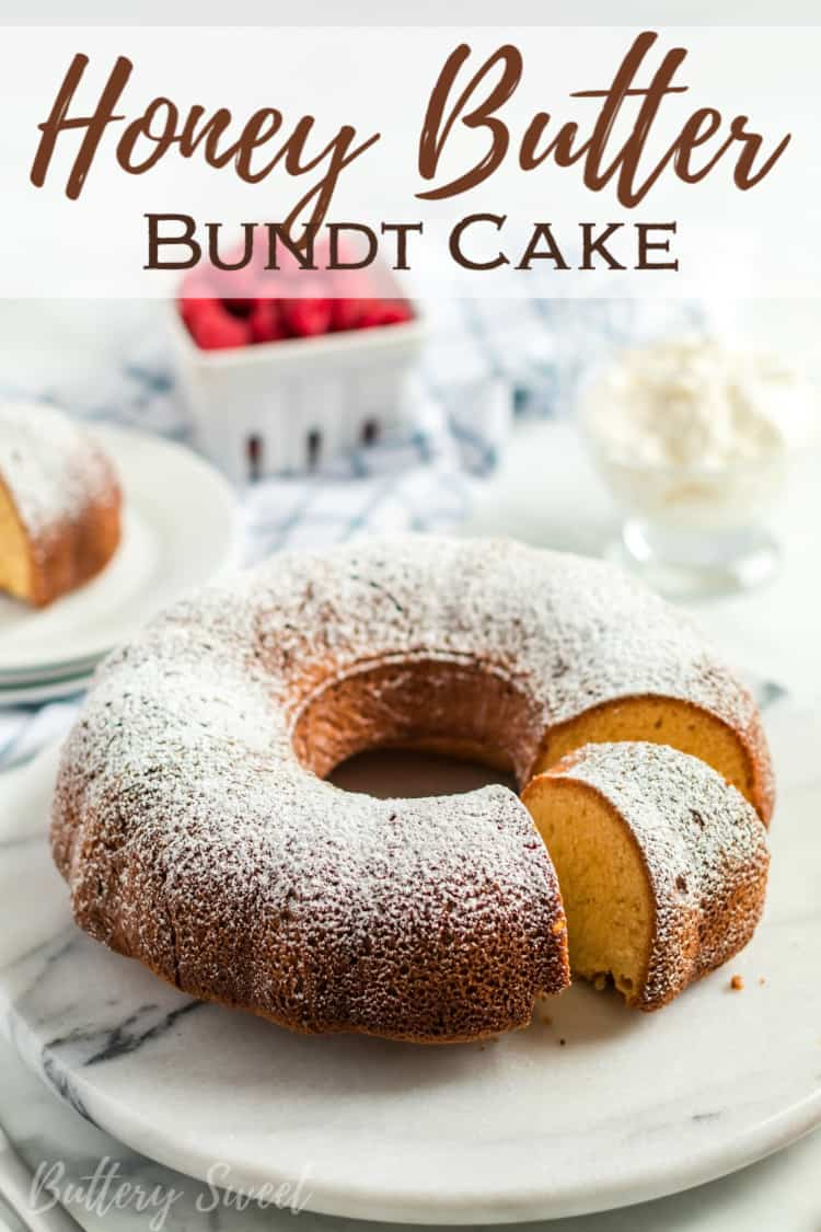 Honey Butter Bundt Cake with powdered sugar