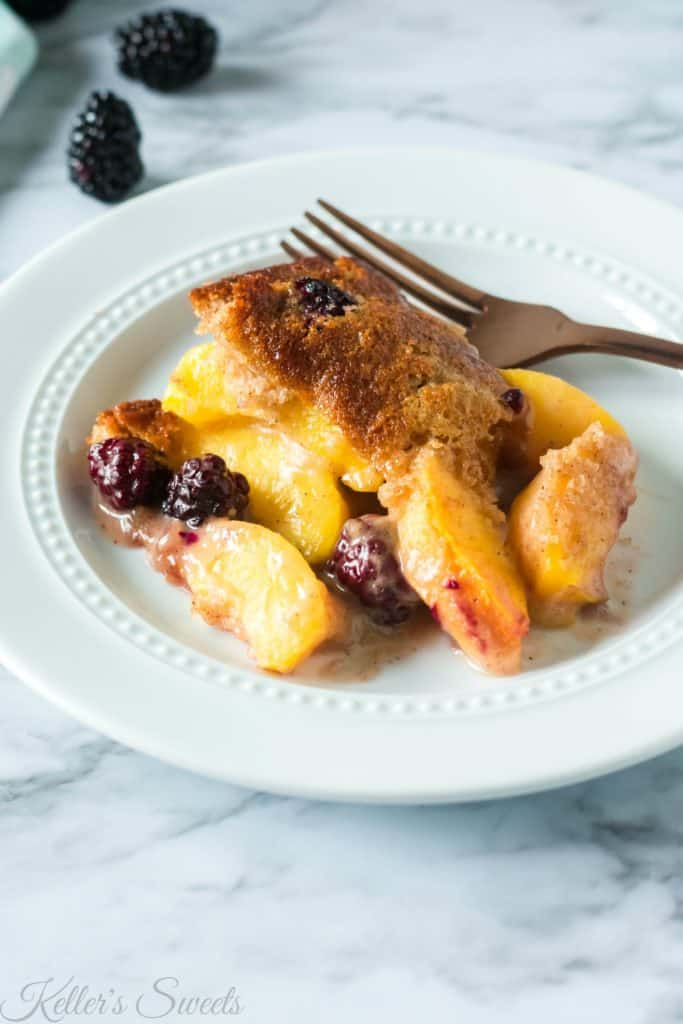 Peach and Blackberry Cobbler Recipe on a white plate