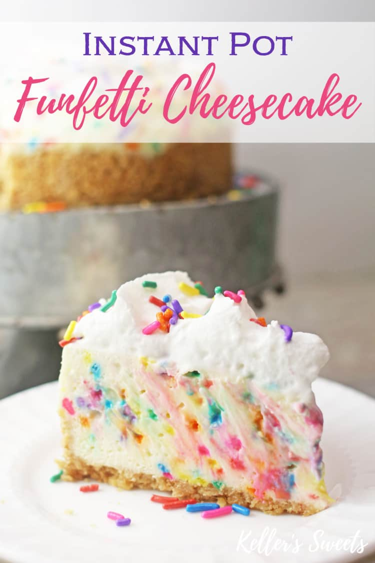Slice of Instant Pot Funfetti Cheesecake on a white plate