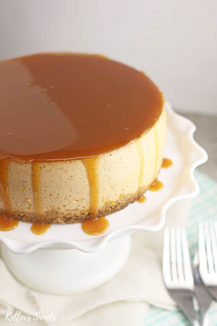 Instant Pot Pumpkin Pie Cheesecake with dripping caramel sauce