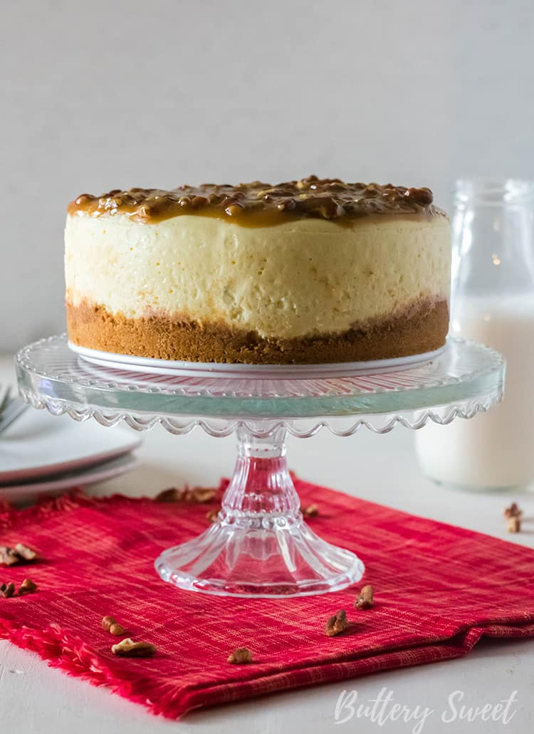 Instant Pot Praline Cheesecake with praline topping and graham cracker crust