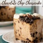 Instant Pot Pumpkin Pecan Chocolate Chip Cheesecake slice on a plate