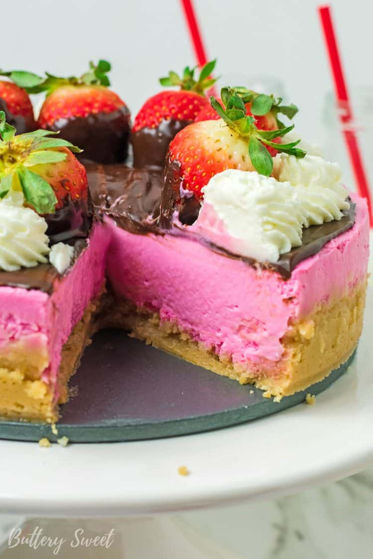 Instant Pot Chocolate Covered Strawberry Cheesecake with slice missing