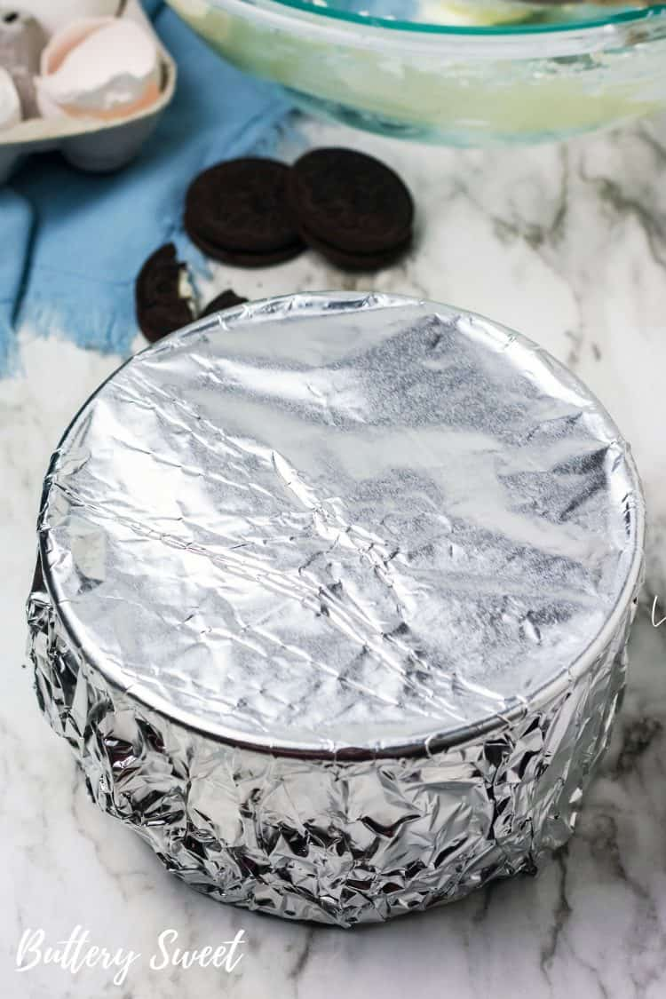 6-inch springform pan wrapped in foil