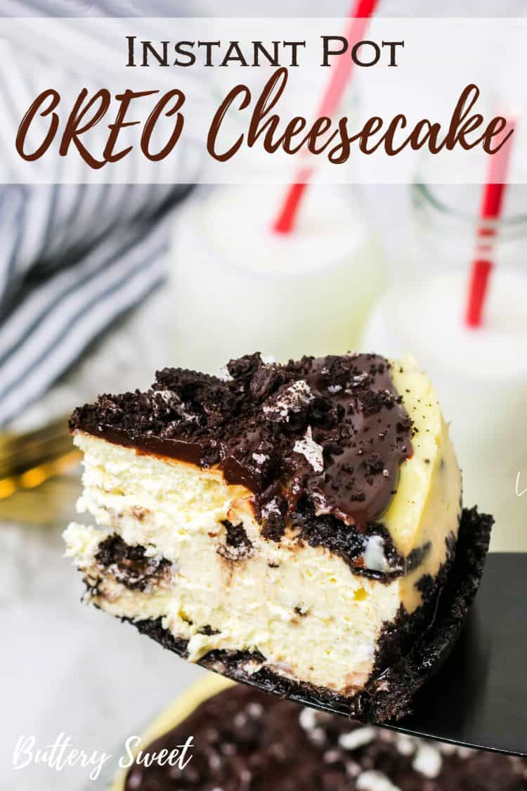 slice of Instant Pot OREO Cheesecake with Ganache