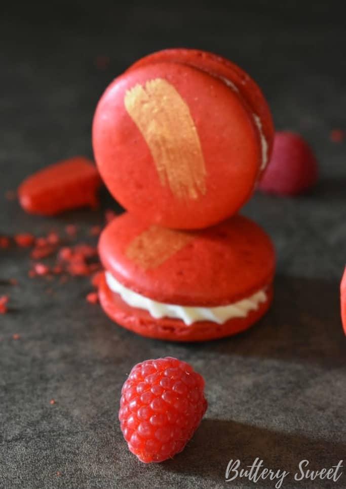 Incredible White Chocolate Raspberry Macarons Stack